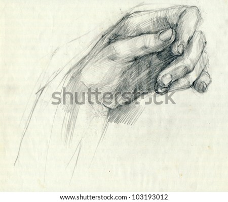 Drawing. HANDS - PALM. Pencil technique. - stock photo