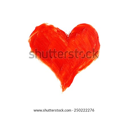 Drawing heart isolated on white - stock photo