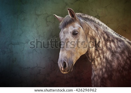 Drawing  Horse portrait on old vintage color grunge paper background - stock photo