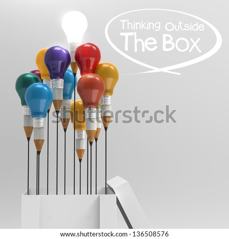 drawing idea pencil and light bulb as concept think outside the box - stock photo
