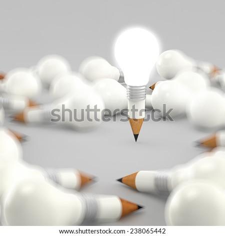 drawing idea pencil and light bulb concept creative - stock photo