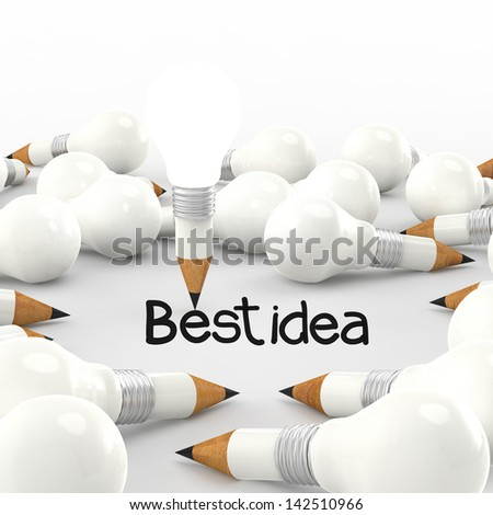 drawing idea pencil and light bulb concept creative with best idea - stock photo