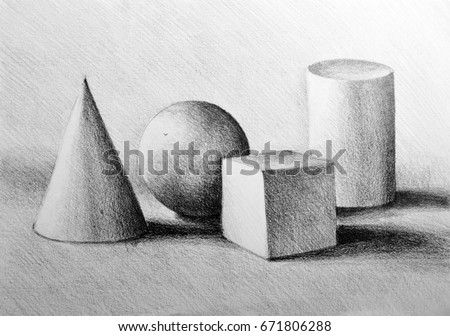 Drawing illustration of still life composition with cylinder, sphere, cube and cone