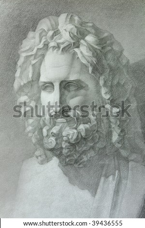 drawing in pencil,Figure plaster heads of ancient statues