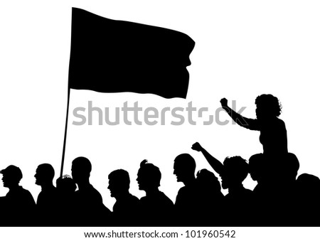 drawing large crowds to flag - stock photo