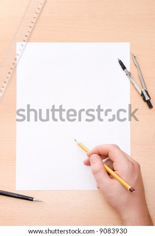 Drawing male hand. Top view. - stock photo