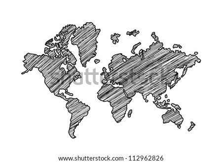 drawing map on a white background - stock photo