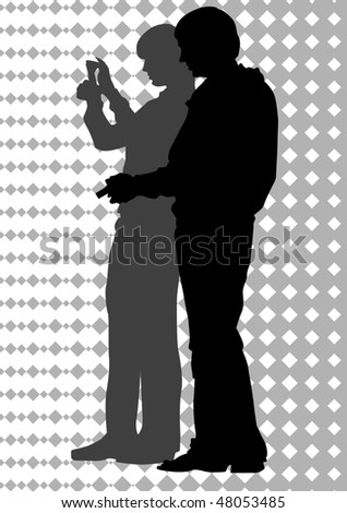 drawing men and women. Silhouettes of people - stock photo