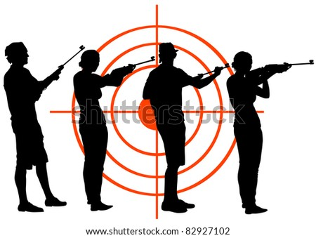 drawing men and women with guns - stock photo