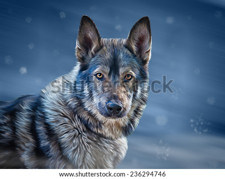 Drawing  mixed breed Dog Wolf on blue background, Winter, snowflakes