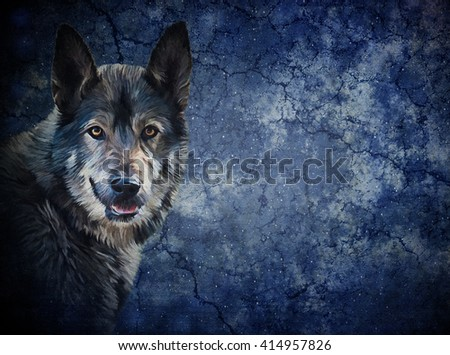 Drawing  mixed breed Dog Wolf on old vintage color grunge paper background