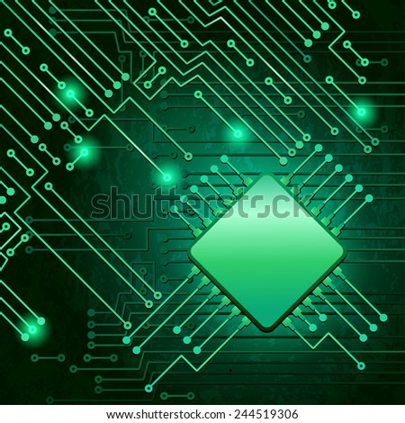 Drawing modern electronic circuit on green background