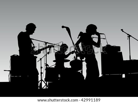drawing musical group in concert on stage - stock photo