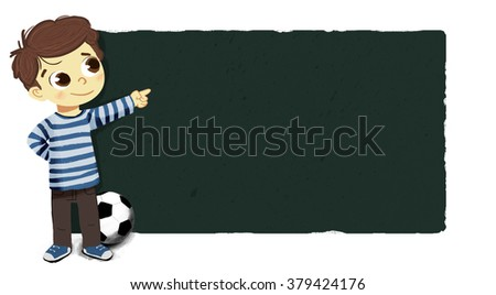 Drawing of a boy pointing with one hand . He is standing and has a soccer ball off his foot. Shows a scoreboard , poster, or school board  - stock photo