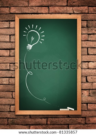 Drawing of a bulb idea green board on wall background - stock photo