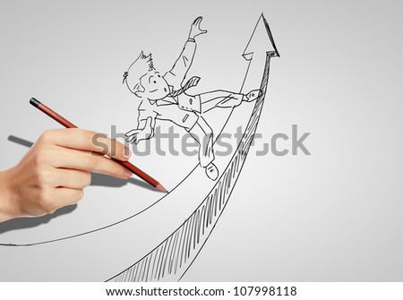 Drawing of a businessman with an upward arrow