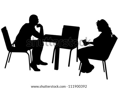 drawing of a couple at a table in the office