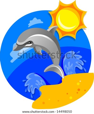 drawing of a dolphin swimming in sea near beach