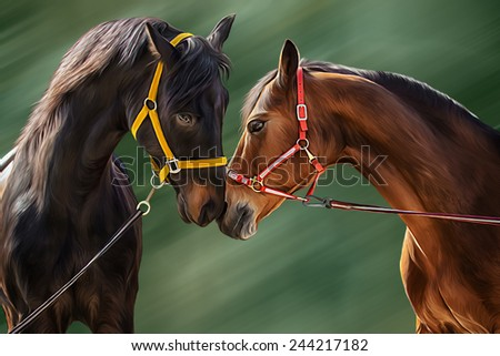 Drawing of a horse, portrait, on a green background, Hand-drawn - stock photo
