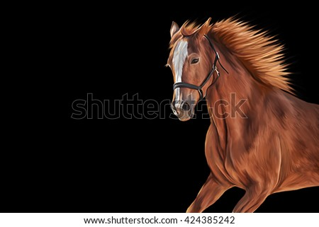 Drawing of a horse, portrait on black background - stock photo