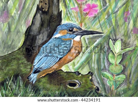 drawing of a kingfisher - stock photo