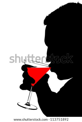drawing of a man with a glasses of martini - stock photo