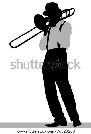 drawing of a man with trumpet on stage - stock photo