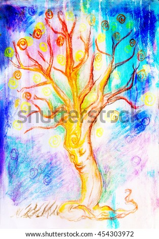 drawing of a spiritual tree with face on abstract background - stock photo