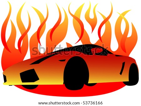 Drawing Of A Sports Car In Flame Of Fire