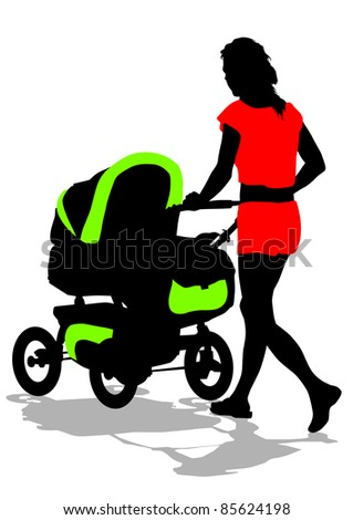 drawing of a woman with a pram - stock photo