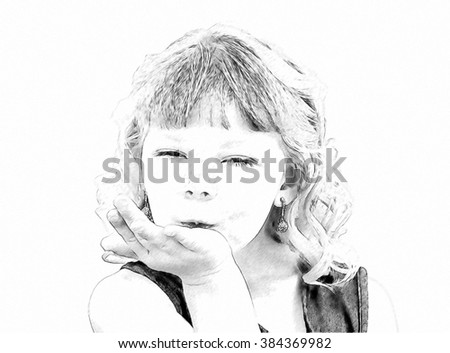 Drawing of Adorable Little Blond Girl Blowing a Kiss