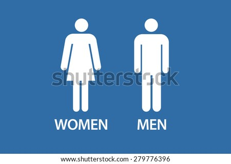Drawing of adult male and female icons on blue background. - stock photo