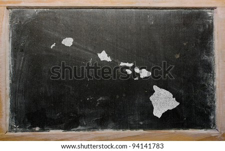 drawing of american state of hawaii on chalkboard, drawn by chalk - stock photo