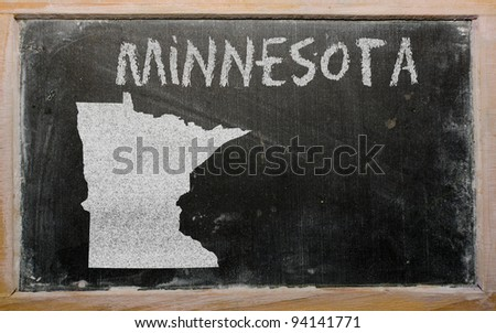 drawing of american state of minnesota on chalkboard, drawn by chalk - stock photo