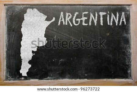 drawing of argentina on blackboard, drawn by chalk - stock photo