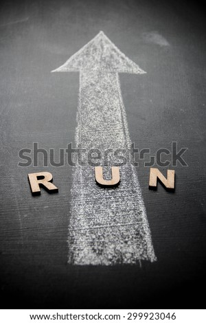 Drawing of arrow sign with white chalk on blackboard. Concept is written with white chalk. The photo may use as conceptual background.