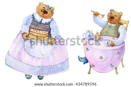 Drawing of bear and bear-grandmother treated to cake birthday