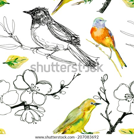 Drawing of beautiful bright birds and flowers seamless pattern. watercolor. - stock photo