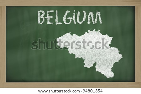 drawing of belgium on blackboard, drawn by chalk