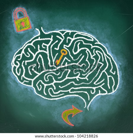 Drawing of Brain maze puzzle on the chalkboard, a thinking human concept - stock photo