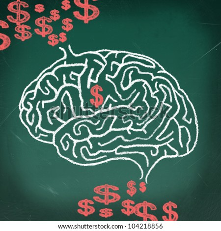 Drawing of Brain maze puzzle on the chalkboard, thinking business concept - stock photo