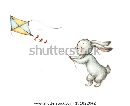Drawing of Bunny with Kite - stock photo