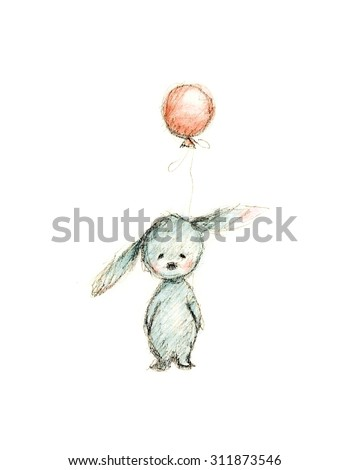 drawing of bunny with pink balloon - stock photo