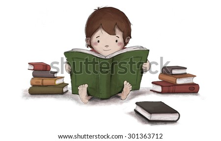 Drawing of child reading a book sitting on the floor. Isolated white background and is surrounded by several books.