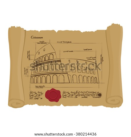 Drawing of Colosseum at Ancient scroll. Retro Scheme of ancient architectural structures in Rome. Archaic architectural sights of Italy. Design of architecture in ancient papyrus manuscript building - stock photo