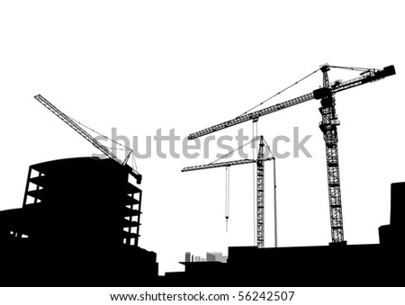 drawing of construction of modern buildings and equipment - stock photo