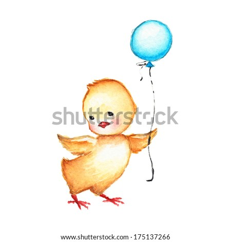 Drawing of Cute Chick with Blue Balloon - stock photo