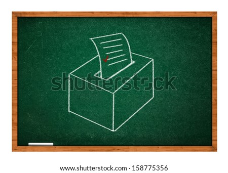 Drawing of election ballot on a green school chalkboard. - stock photo
