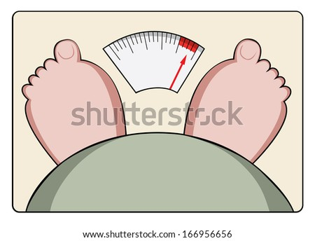 Drawing of feet and stomach on weighing scales - stock photo
