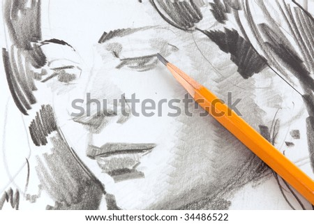 Drawing of girl by graphite pencil - stock photo